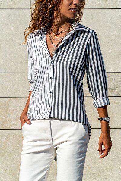 Güneşkızı Kadın Siyah-Beyaz Multi Çizgili Salaş Gömlek GK-CCK60013
