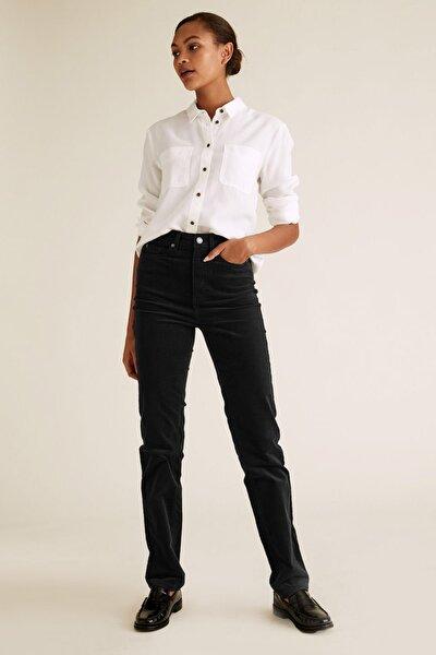 Marks & Spencer Kadın Siyah Kadife Straight Leg Pantolon T57007906