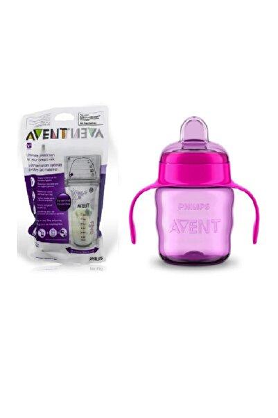 Philips Avent Kız Çocuk Eğitici Damlatmaz Bardak 6 Ay+ 200 ml + Süt Saklama Poşeti 25 Adet 185 ml