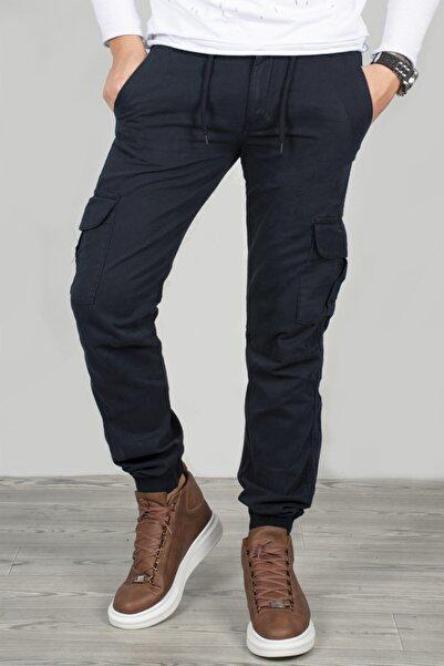DeepSEA Erkek Lacivert Beli Lastikli Kargo Pantolon