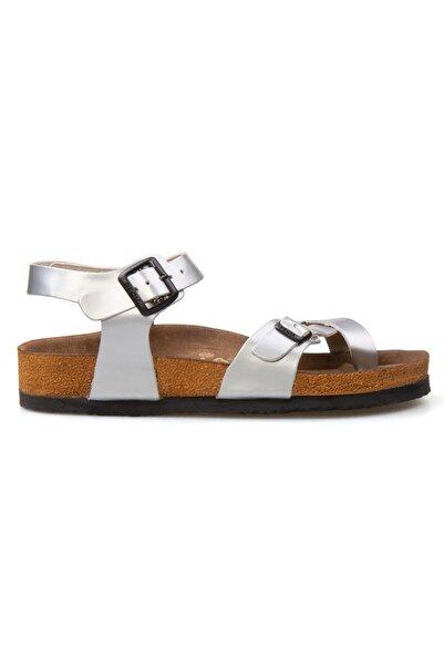 Pegia Kadın Gümüş Hakiki Deri Parmak Arası Sandalet 215513