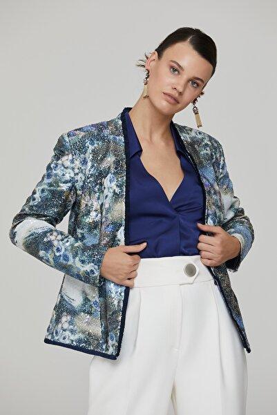 RENGIN Kadın Mavi İp Püskül Şeritli V Yaka Empirme Payet Ceket
