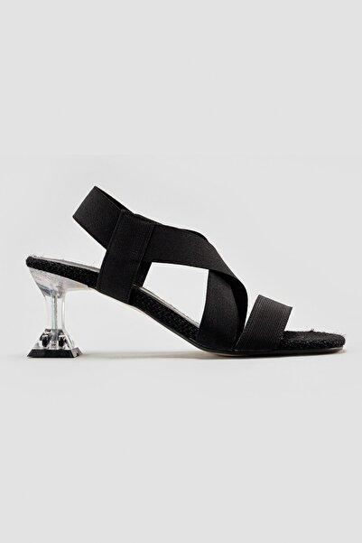 Limoya Joann Siyah Elastik Detaylı İnce Topuk Topuklu Ayakkabı