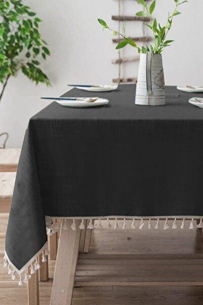 vivamaison %100 Pamuk Düz Siyah Kenarı Ponponlu Masa Örtüsü
