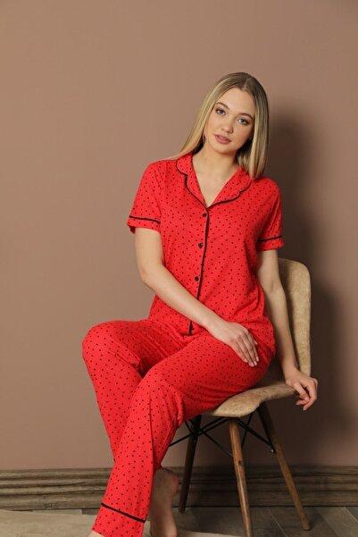 ASL Kadın Desenli Kısa Kollu Pijama Takımı