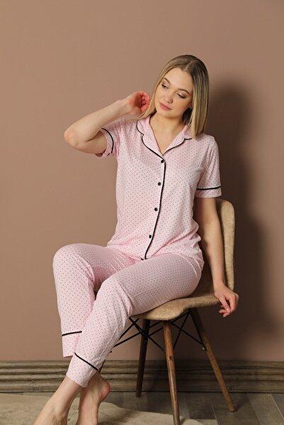 ASL Kadın Pembe Kısa Kollu Pijama Takımı