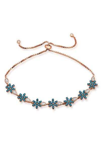 Gumush Gümüş Asansörlü Mavi Çiçek Bileklik