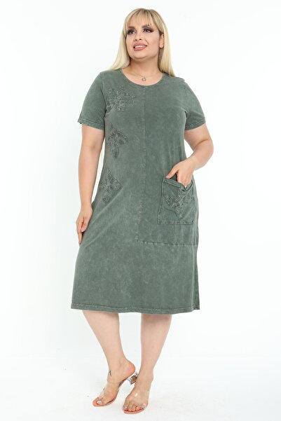 Mooi XXL Kadın Yıkamalı Haki Otantik Aplikeli Büyük Beden Elbise
