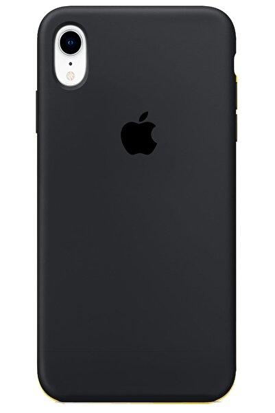 Apple Iphone Xr Kılıf Logolu Lansman Altı Kapalı Içi Süet - Siyah + Popsocket