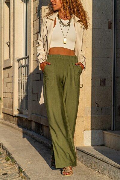 Buzz Kadın Haki Keten Beli Lastikli Salaş Pantolon M2933