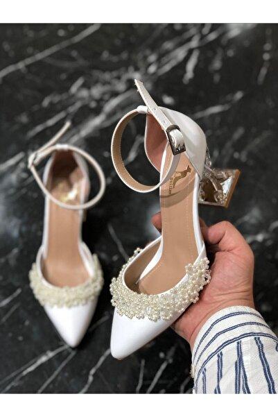Benimsitilimbu Kadın Beyaz İnci Detaylı Abiye Ayakkabı