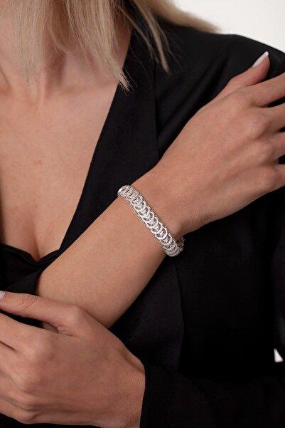 Ninova Silver Pullu Model Midyat Telkari Gümüş Bileklik