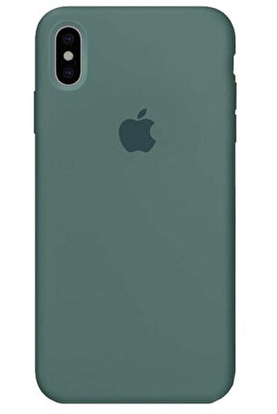 Iphone X Xs Kılıf Logolu Lansman Altı Kapalı Içi Süet - Koyu Yeşil + Popsocket