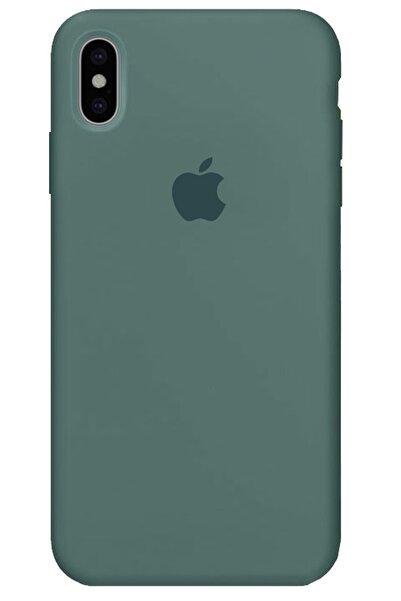 Apple Iphone X Xs Kılıf Logolu Lansman Altı Kapalı Içi Süet - Koyu Yeşil + Popsocket