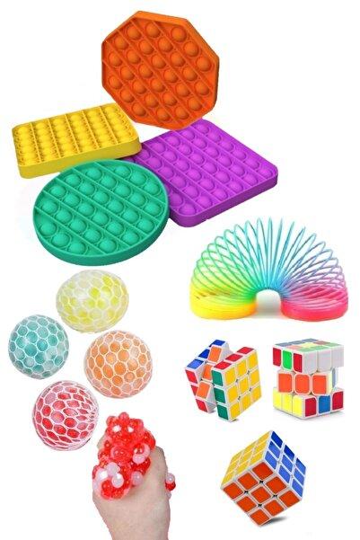 Ayver Stres Giderici Set 1 Popit 1 Rubik Zeka Küpü 1 Stres Yayı 1 Beyin Şekilli Stres Topu