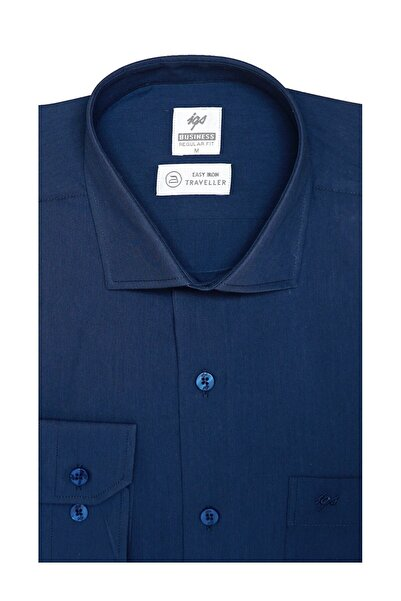 İgs Erkek Petrol Regularfıt / Rahat Kalıp 7 Cm Klasik Gömlek