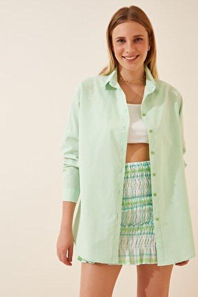 Kadın Açık Yeşil Oversize Uzun Basic Gömlek DD00842