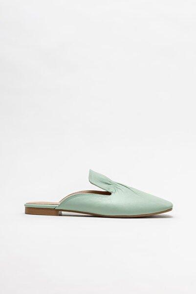 Elle Shoes Yeşil Deri Kadın Düz Terlik