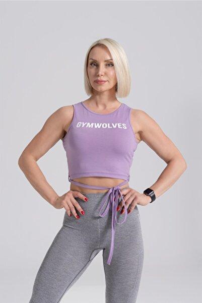 Gymwolves Kadın Mor Bağ Detaylı Body Crop Tops Cotton Serisi