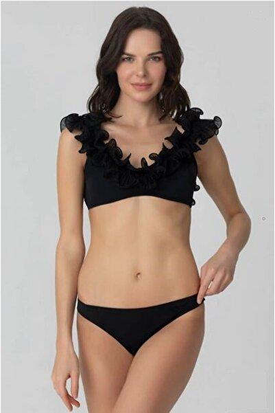 Kom Fırfırlı Sırt Bağlamalı Büstiyer Bikini