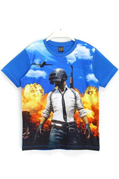 PUBG Dijital Baskılı Erkek Çocuk T-shirt 6 - 13 Yaş Mavi