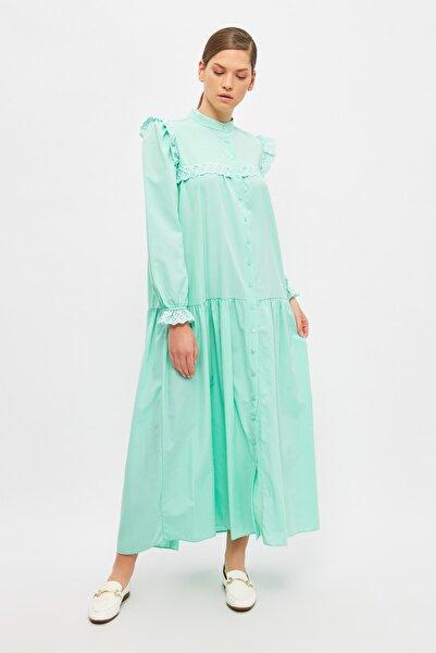 Trendyol Modest Mint Hakim Yaka Tesettür Elbise TCTSS21EB0002