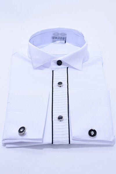 ceocuk Kol Düğmeli Beyaz Renk Siyah Biyeli Çocuk Gömlek