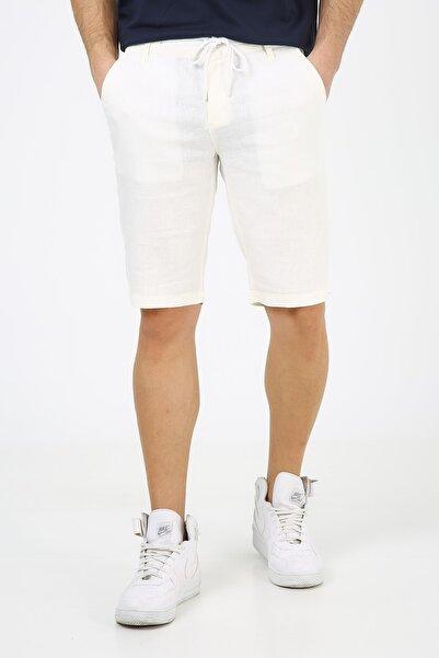 muzzo jeans Erkek Beyaz Lastikli Keten Şort