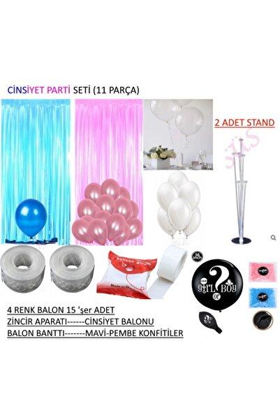 GüneşPartiBalon Cinsiyet Partisi 1.Set Cinsiyet Balonu Mavi Pembe Takımlar 12 Parça