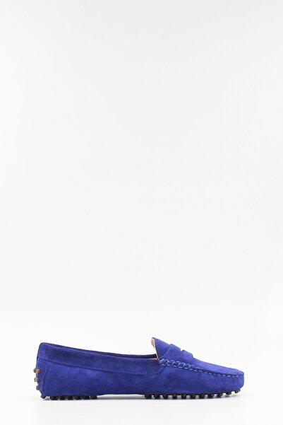 West To West Kadın Loafer Ayakkabı Hakiki Deri Mavi Süet
