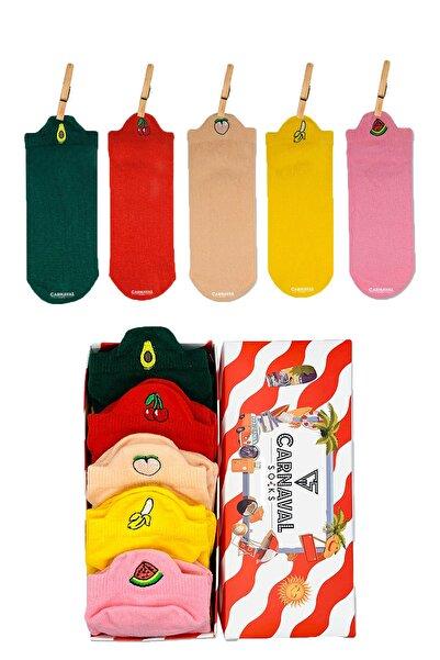 CARNAVAL SOCKS 5'li Bilek Nakışlı Meyveler Desenli Renkli Çorap Kutusu