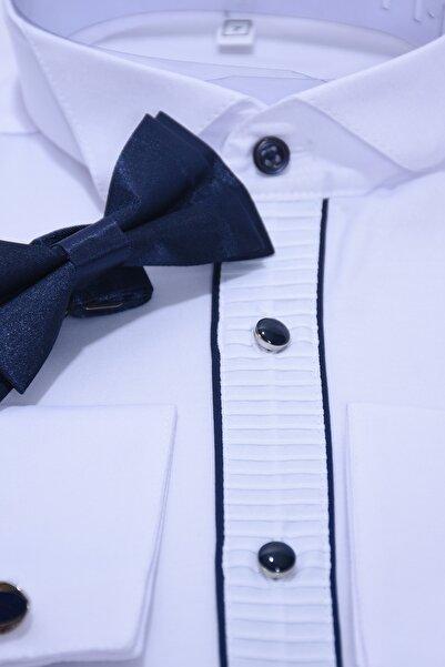 ceocuk Kol Düğmeli Beyaz Gömlek Ve Lacivert Papyon