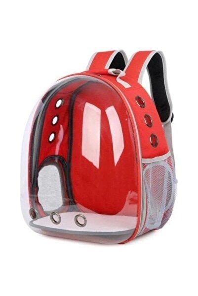 WONDi Kırmızı Şeffaf Astronot Kedi Köpek Taşıma Sırt Çantası