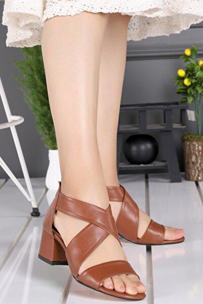Ayakland 038-31 Cilt 5 Cm Topuk Fermuarlı Kadın Sandalet Ayakkabı