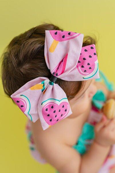 PixyLove Pembe Kız Bebek Bandana Fiyonklu Poa Watermelon