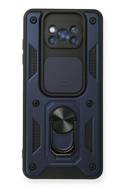 POCO X3 Kılıf Pars Lens Armour Yüzüklü Silikon - Lacivert