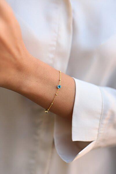 SUNSHINE Kadın Gold Kaplama Nazar Boncuklu Toplu Gümüş Bileklik