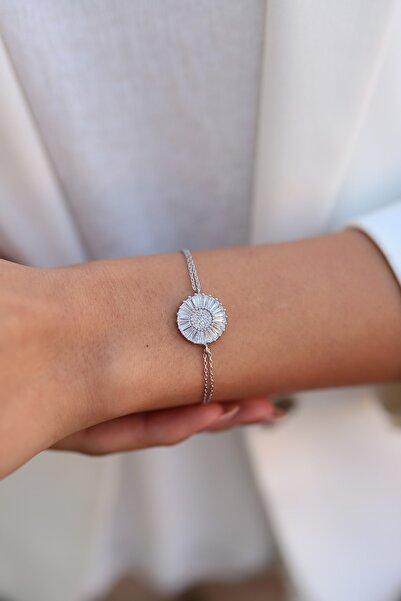 SUNSHINE Kadın Zirkon Taşlı Rodyum Gümüş Bileklik