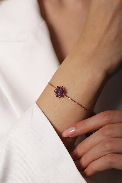 SUNSHINE Mor Lotus Zirkon Bileklik 925 Ayar Gümüş