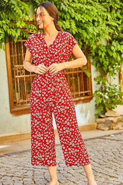 armonika Kadın Kırmızı Çiçek Desenli Kruvaze Beli Kemerli Tulum ARM-21K001235