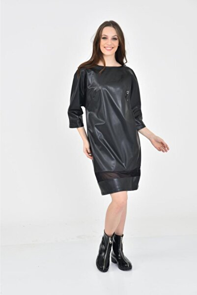 Modkofoni Kayık Yaka Kısa Kollu Siyah Deri Elbise