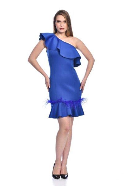 Modkofoni Sıfır Tek Kollu Etek Ve Yaka Volenli Tüy Detaylı Saks Abiye Elbise