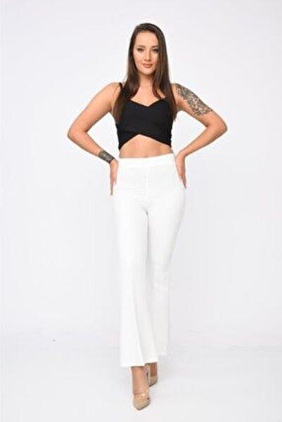 Belden Lastikli Ispanyol Paça Beyaz Pantolon
