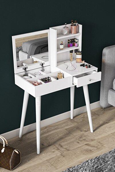 Canisa Concept Premium Serisi Aynalı Makyaj Masası,takı Dolabı Beyaz