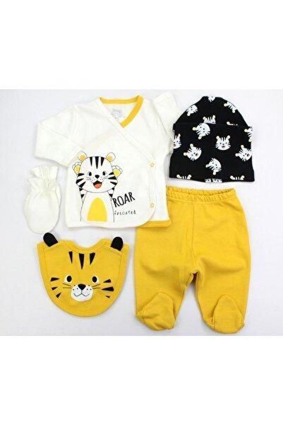 VERONA TARZ Çizgili Kaplan Erkek Bebek 5li Hastane Çıkış Seti Yenidoğan Kıyafeti