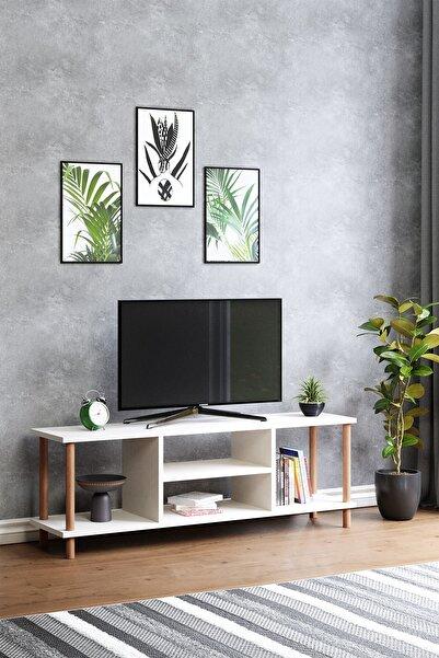 interGO Tv Sehpası Raflı Tv Ünitesi Televizyon Sehpası Ahşap Ayaklı Beyaz