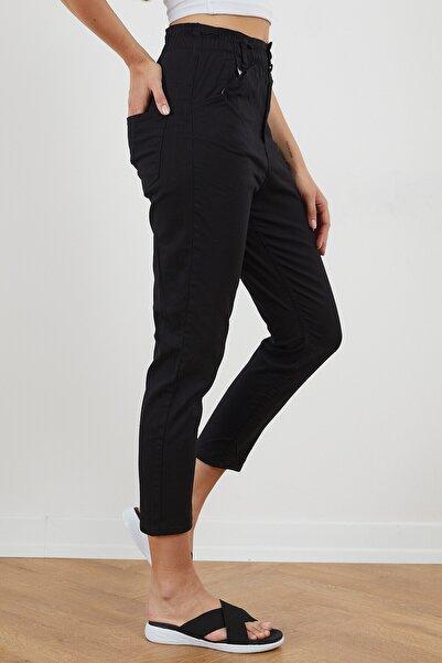 Tonny Black Kadın Keten Bagi Bel Lastikli Pantolon Tbg024