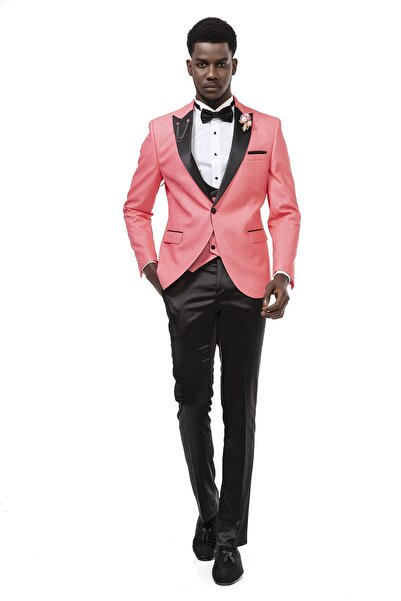 MEHMET EMİN TEKE Men's Wear Slimfit Damatlık 3'lü Takım Met Dt 003 Pembe