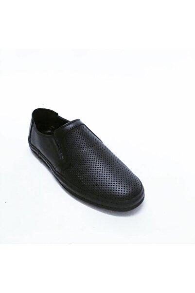 stok83 Erkek Siyah Hakiki Deri Zımbalı Ayakkabı