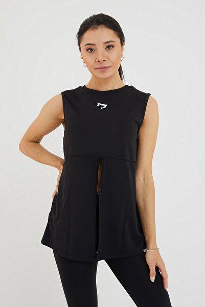 Gymwolves Kadın Spor T-shirt /çift Taraf Giyilebilir Yırtmaçlı